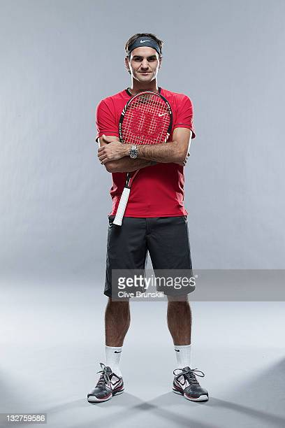 Roger Federer of Switzerland poses during the ATP Mens Tennis portrait session at the Indian Wells Tennis Club on March 8 2011 in Palm Springs...