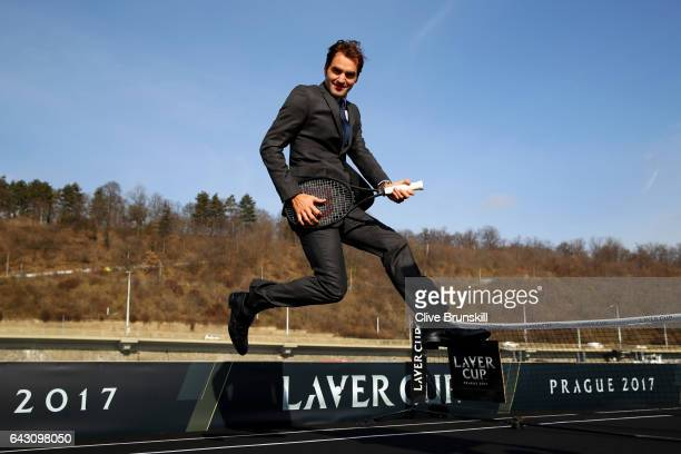 Roger Federer of Switzerland poses during the countdown to the inaugural Laver Cup on February 20 2017 in Prague Czech Republic