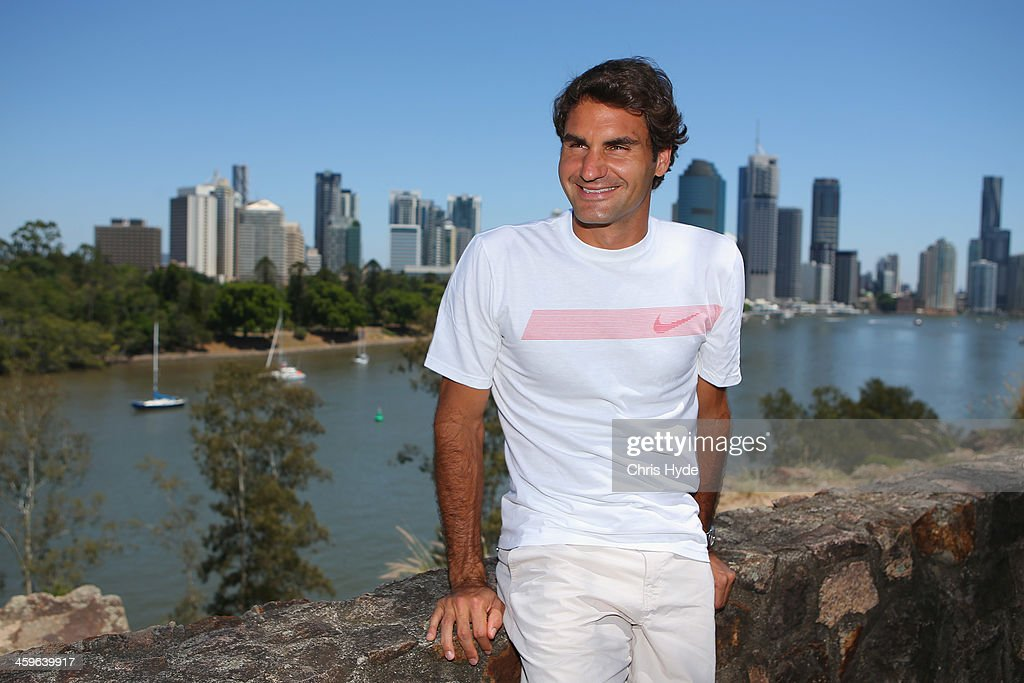 <a gi-track='captionPersonalityLinkClicked' href=/galleries/search?phrase=Roger+Federer&family=editorial&specificpeople=157480 ng-click='$event.stopPropagation()'>Roger Federer</a> of Switzerland poses for a photograph at Kangaroo Point during day one of the 2014 Brisbane International at Queensland Tennis Centre on December 29, 2013 in Brisbane, Australia.