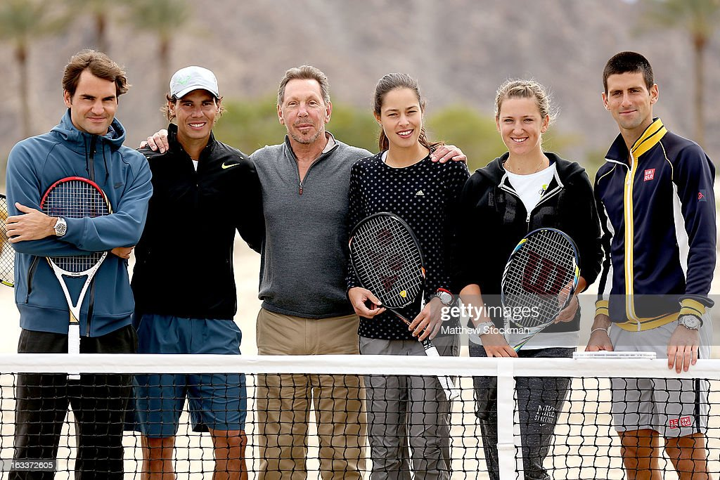 Roger Federer of Switzerland, Rafael Nadal of Spain, Larry Ellison, tournament owner and CEO of Oracle, Ana Ivanovic of Serbia, Victoria Azarenka of Belarus and Novak Djokovic of Serbia pose for photographers after participating in a ground breaking for the Indian Wells Tennis Garden expansion during the BNP Paribas Open at the Indian Wells Tennis Garden on March 8, 2013 in Indian Wells, California.