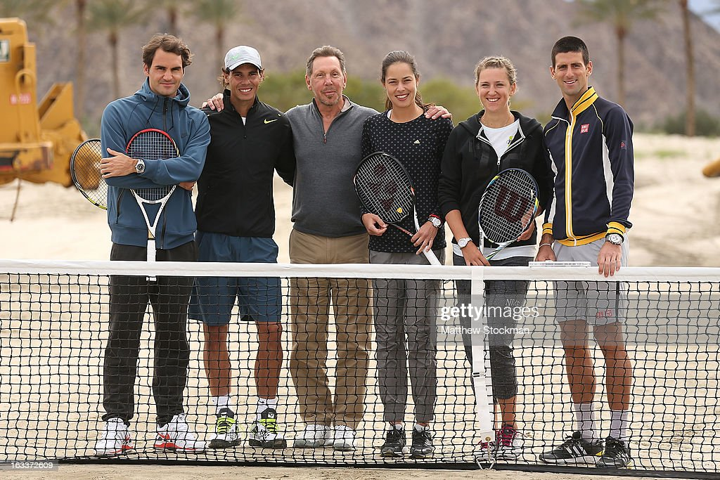 <a gi-track='captionPersonalityLinkClicked' href=/galleries/search?phrase=Roger+Federer&family=editorial&specificpeople=157480 ng-click='$event.stopPropagation()'>Roger Federer</a> of Switzerland, <a gi-track='captionPersonalityLinkClicked' href=/galleries/search?phrase=Rafael+Nadal&family=editorial&specificpeople=194996 ng-click='$event.stopPropagation()'>Rafael Nadal</a> of Spain, <a gi-track='captionPersonalityLinkClicked' href=/galleries/search?phrase=Larry+Ellison&family=editorial&specificpeople=221302 ng-click='$event.stopPropagation()'>Larry Ellison</a>, tournament owner and CEO of Oracle, <a gi-track='captionPersonalityLinkClicked' href=/galleries/search?phrase=Ana+Ivanovic&family=editorial&specificpeople=542118 ng-click='$event.stopPropagation()'>Ana Ivanovic</a> of Serbia, <a gi-track='captionPersonalityLinkClicked' href=/galleries/search?phrase=Victoria+Azarenka&family=editorial&specificpeople=604872 ng-click='$event.stopPropagation()'>Victoria Azarenka</a> of Belarus and <a gi-track='captionPersonalityLinkClicked' href=/galleries/search?phrase=Novak+Djokovic&family=editorial&specificpeople=588315 ng-click='$event.stopPropagation()'>Novak Djokovic</a> of Serbia pose for photographers after participating in a ground breaking for the Indian Wells Tennis Garden expansion during the BNP Paribas Open at the Indian Wells Tennis Garden on March 8, 2013 in Indian Wells, California.