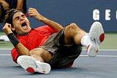 Roger Federer of Switzerland reacts after defeating Andy Murray of the United Kingdom to win the 2008 US Open Men's Championship Match in Arthur Ashe...