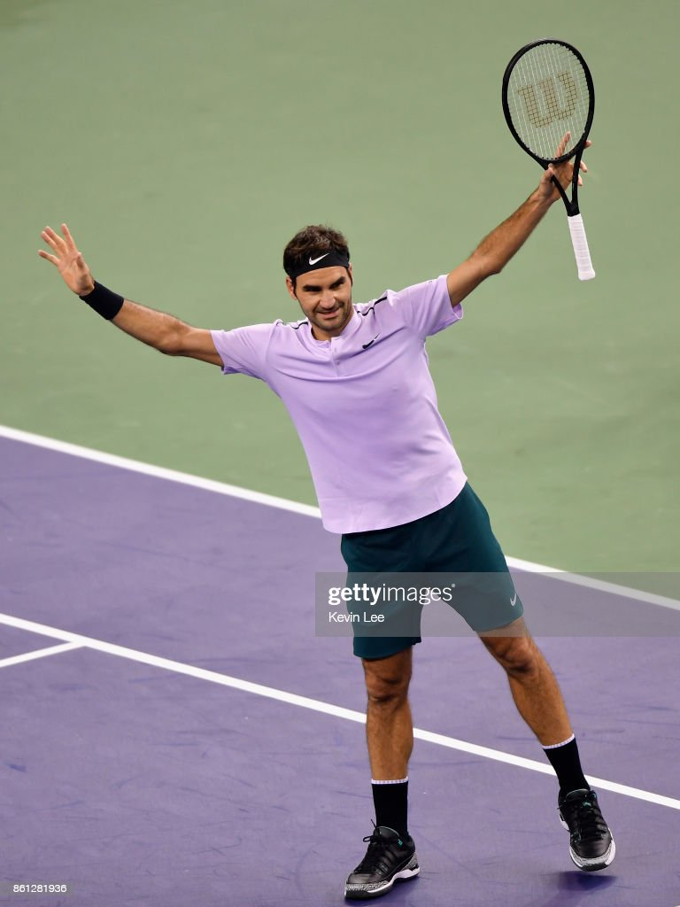 Roger Federer of Switzerland reacts after defeating Marin Cilic of Croatia on Day 7 of 2017 ATP 1000 Shanghai Rolex Masters during Men's Single Semi-Final on October 14, 2017 at Qizhong Stadium in Shanghai, China.