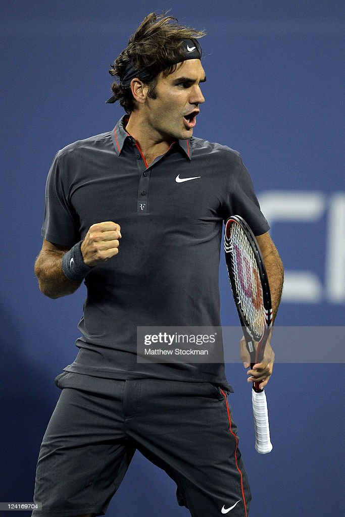 Roger Federer of Switzerland reacts against Jo-Wilfried Tsonga of France during Day Eleven of the 2011 US Open at the USTA Billie Jean King National Tennis Center on September 8, 2011 in the Flushing neighborhood of the Queens borough of New York City.