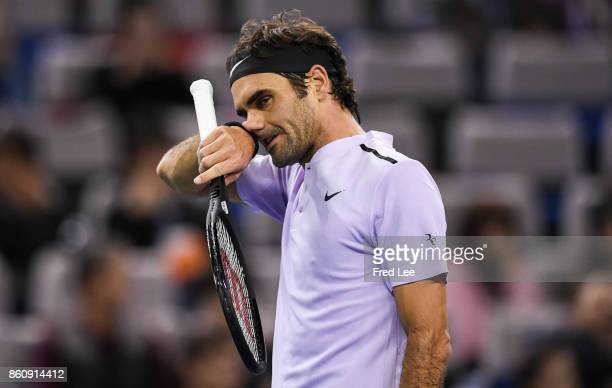 Roger Federer of Switzerland reacts during a match against Richard Gasquet of France on Day 6 during Men's Single QuaterFinal of 2017 ATP 1000...