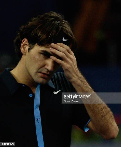 Roger Federer of Switzerland reacts during his round robin match against Radek Stepanek of the Czech Republic in the Tennis Masters Cup held at Qi...