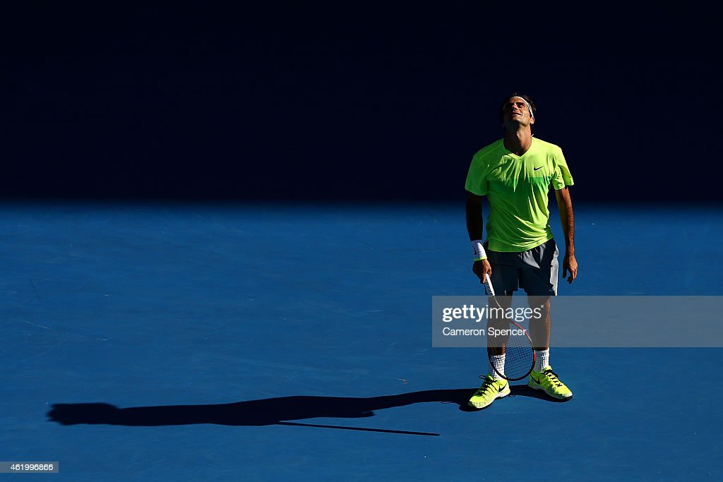 <a gi-track='captionPersonalityLinkClicked' href=/galleries/search?phrase=Roger+Federer&family=editorial&specificpeople=157480 ng-click='$event.stopPropagation()'>Roger Federer</a> of Switzerland reacts in his third round match against Andreas Seppi of Italy during day five of the 2015 Australian Open at Melbourne Park on January 23, 2015 in Melbourne, Australia.