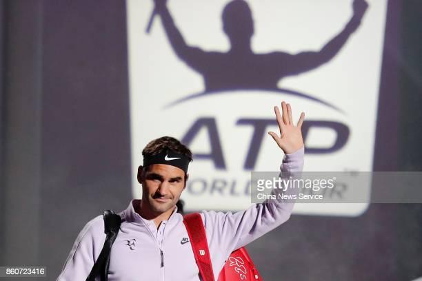 Roger Federer of Switzerland reacts in the Men's singles third round match against Alexandr Dolgopolov of Ukraine on day 5 of 2017 ATP Shanghai Rolex...