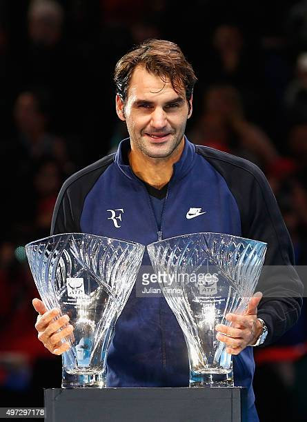 Roger Federer of Switzerland receives the Stefan Edberg Sportsmanship Award and the ATPWorldTourcom Fans' Favourite in Singles presented by Moët...