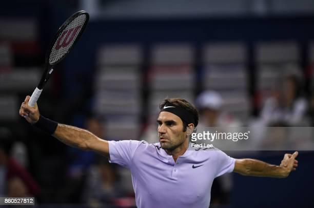 Roger Federer of Switzerland returns a shot against Alexandr Dolgopolov of Ukraine during the Men's singles match on day 5 of 2017 ATP Shanghai Rolex...