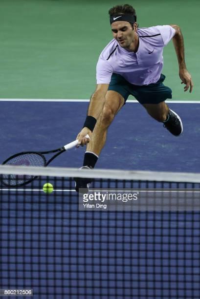 Roger Federer of Switzerland returns a shot during the Men's singles match against Diego Schwartzman of Argentina on day 4 of 2017 ATP Shanghai Rolex...