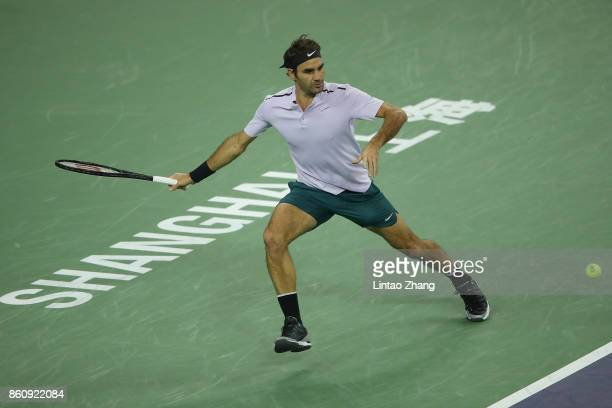 Roger Federer of Switzerland returns a shot during the Men's singles quarter final mach against Richard Gasquet of France on day six of 2017 ATP...