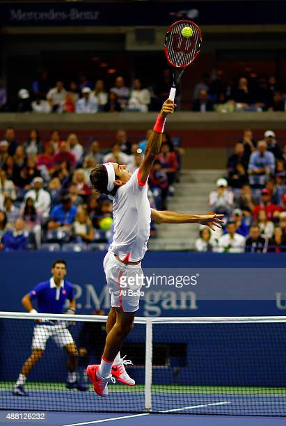 Roger Federer of Switzerland returns a shot to Novak Djokovic of Serbia during their Men's Singles Final match on Day Fourteen of the 2015 US Open at...