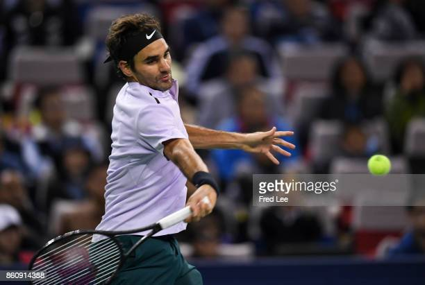Roger Federer of Switzerland returns a shot to Richard Gasquet of France on Day 6 during Men's Single QuaterFinal of 2017 ATP 1000 Shanghai Rolex...