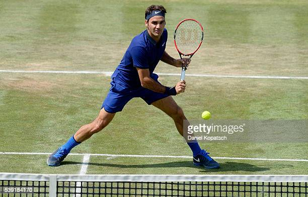 Roger Federer of Switzerland returns against Florian Mayer of Germany during the quarterfinals on day 7 of Mercedes Cup 2016 on June 10 2016 in...