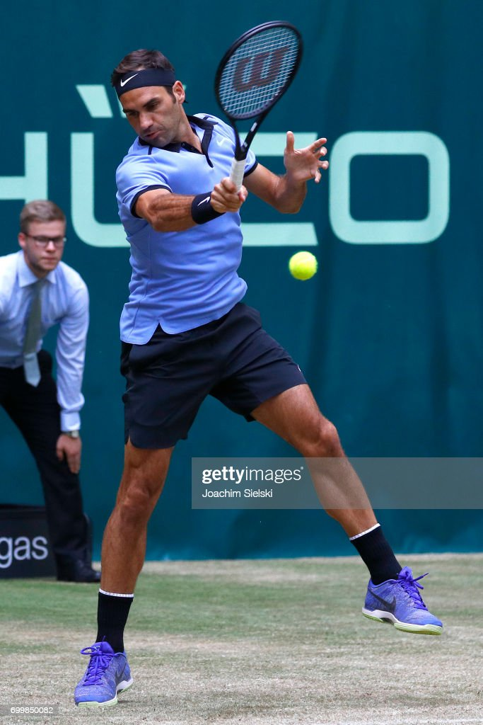 Roger Federer of Switzerland returns the ball during the men's singles match against Mischa Zverev of Germany on Day 6 of the Gerry Weber Open 2017 at Gerry Weber Stadion on June 22, 2017 in Halle, Germany.