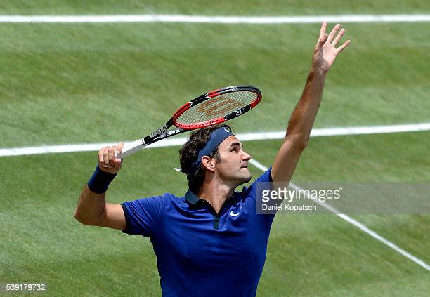 Roger Federer of Switzerland serves against Florian Mayer of Germany during the quarterfinals on day 7 of Mercedes Cup 2016 on June 10 2016 in...