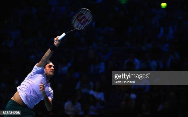 Roger Federer of Switzerland serves against Jack Sock of the United States during the Nitto ATP World Tour Finals at O2 Arena on November 12 2017 in...