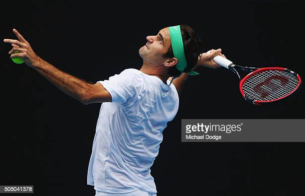Roger Federer of Switzerland serves during a practice session ahead of the 2016 Australian Open at Melbourne Park on January 15 2016 in Melbourne...