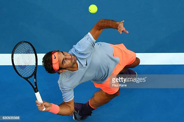 Roger Federer of Switzerland serves during his men's singles match against Alexander Zverev of Germany on day four of the 2017 Hopman Cup at Perth...