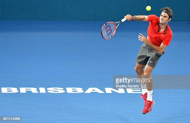 Roger Federer of Switzerland serves in his match against James Duckworth of Australia during day six of the 2015 Brisbane International at Pat Rafter...