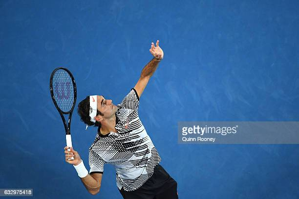 Roger Federer of Switzerland serves in his Men's Final match against Rafael Nadal of Spain on day 14 of the 2017 Australian Open at Melbourne Park on...