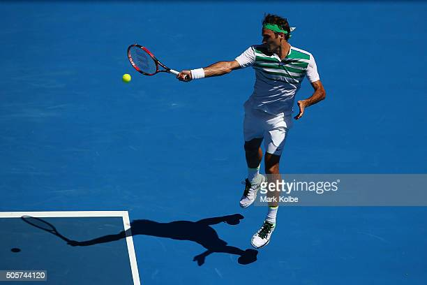 Roger Federer of Switzerland serves in his second round match against Alexandr Dolgopolov of Ukraine during day three of the 2016 Australian Open at...