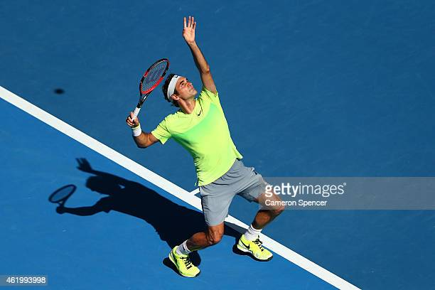 Roger Federer of Switzerland serves in his third round match against Andreas Seppi of Italy during day five of the 2015 Australian Open at Melbourne...