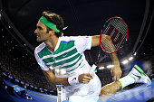 Roger Federer of Switzerland serves in his third round match against Grigor Dimitrov of Bulgaria during day five of the 2016 Australian Open at...