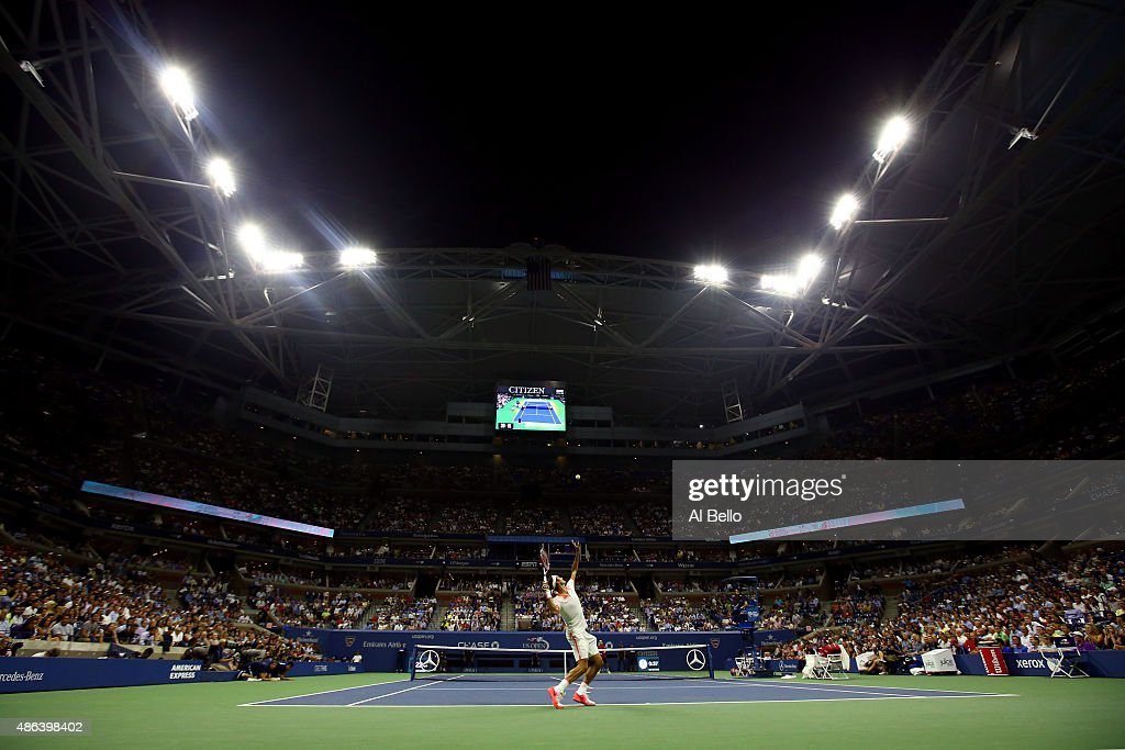 Roger Federer of Switzerland serves to <a gi-track='captionPersonalityLinkClicked' href=/galleries/search?phrase=Steve+Darcis&family=editorial&specificpeople=4354952 ng-click='$event.stopPropagation()'>Steve Darcis</a> of Belgium during their Men's Singles Second Round match on Day Four of the 2015 US Open at the USTA Billie Jean King National Tennis Center on September 3, 2015 in the Flushing neighborhood of the Queens borough of New York City.