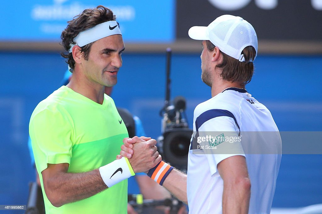 <a gi-track='captionPersonalityLinkClicked' href=/galleries/search?phrase=Roger+Federer&family=editorial&specificpeople=157480 ng-click='$event.stopPropagation()'>Roger Federer</a> of Switzerland shakes hands with <a gi-track='captionPersonalityLinkClicked' href=/galleries/search?phrase=Andreas+Seppi&family=editorial&specificpeople=228727 ng-click='$event.stopPropagation()'>Andreas Seppi</a> of Italy after Federer lost their third round match against during day five of the 2015 Australian Open at Melbourne Park on January 23, 2015 in Melbourne, Australia.