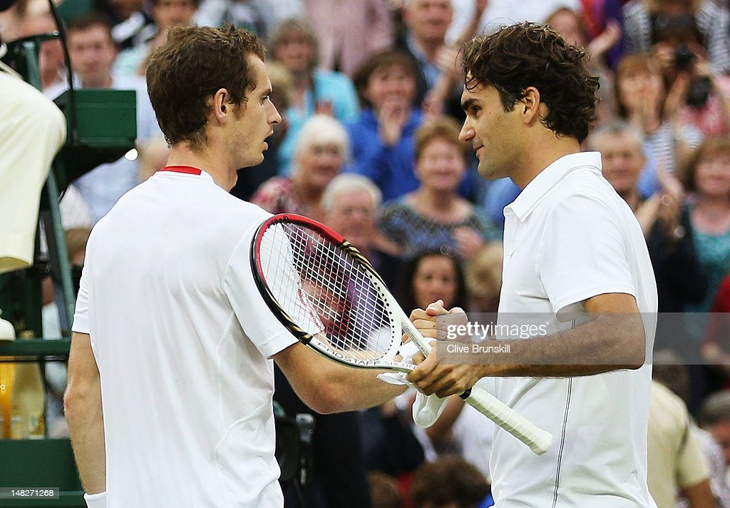 <a gi-track='captionPersonalityLinkClicked' href=/galleries/search?phrase=Roger+Federer&family=editorial&specificpeople=157480 ng-click='$event.stopPropagation()'>Roger Federer</a> of Switzerland (R) shakes hands with <a gi-track='captionPersonalityLinkClicked' href=/galleries/search?phrase=Andy+Murray+-+Tennisser&family=editorial&specificpeople=200668 ng-click='$event.stopPropagation()'>Andy Murray</a> of Great Britain after defeating him during their Gentlemen's Singles final match on day thirteen of the Wimbledon Lawn Tennis Championships at the All England Lawn Tennis and Croquet Club on July 8, 2012 in London, England.
