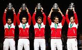 Roger Federer of Switzerland Stanislas Wawrinka of Switzerland Marco Chiudinelli of Switzerland Michael Lammer of Switzerland and Captain Severin...