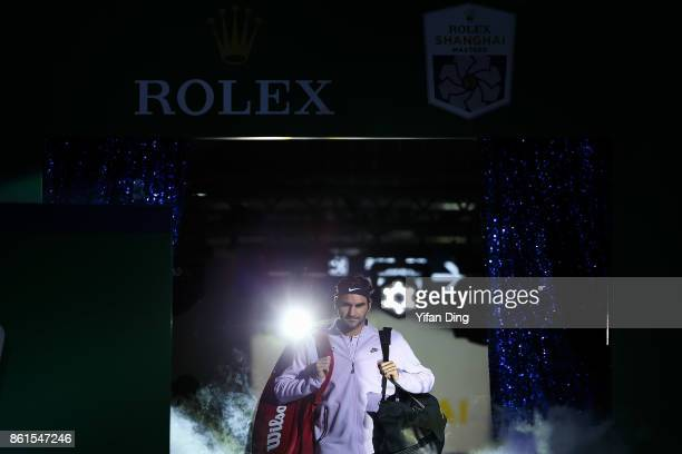 Roger Federer of Switzerland steps into the court prior to the Men's singles final match against Rafael Nadal of Spain on day 8 of 2017 ATP Shanghai...