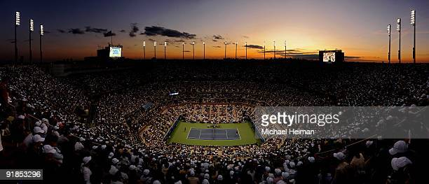 Roger Federer of Switzerland takes on Juan Martin Del Potro of Argentina during the Men's Singles final on day fifteen of the 2009 US Open at the...