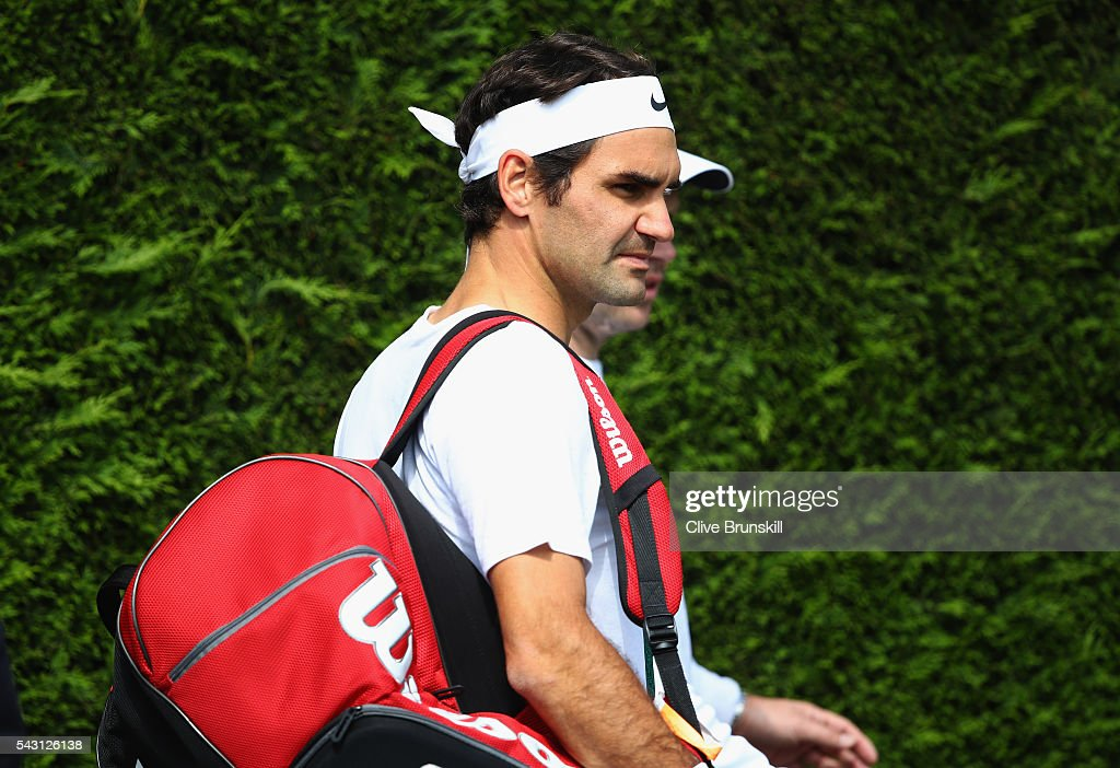 <a gi-track='captionPersonalityLinkClicked' href=/galleries/search?phrase=Roger+Federer&family=editorial&specificpeople=157480 ng-click='$event.stopPropagation()'>Roger Federer</a> of Switzerland walks out for a practice session prior to the Wimbledon Lawn Tennis Championships at the All England Lawn Tennis and Croquet Club on June 26, 2016 in London, England.