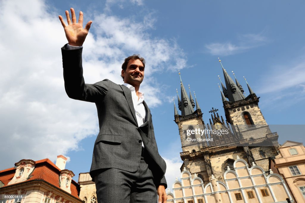 Roger Federer of Switzerland waves to fans ahead of the Laver Cup on September 20, 2017 in Prague, Czech Republic. The Laver Cup consists of six European players competing against their counterparts from the rest of the World. Europe will be captained by Bjorn Borg and John McEnroe will captain the Rest of the World team. The event runs from 22-24 September.