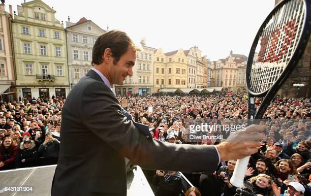 Roger Federer of Switzerland waves to the crowd in front of the old town square during the countdown to the inaugural Laver Cup on February 20 2017...