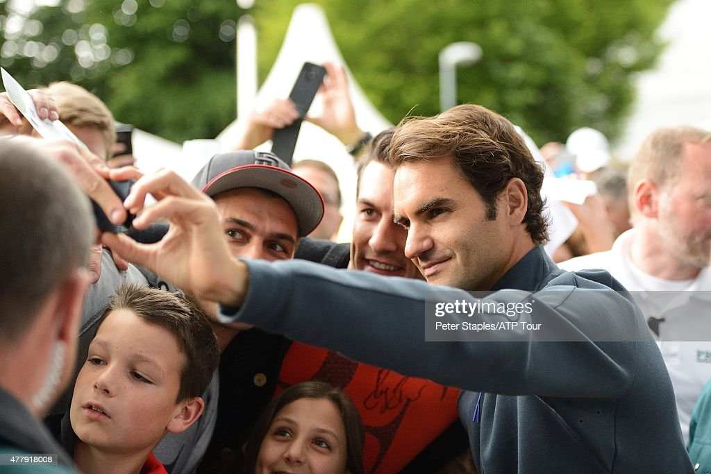 Roger Federer of Switzerland with fans at the Gerry Weber Open on June 20 2015 in Halle Germany