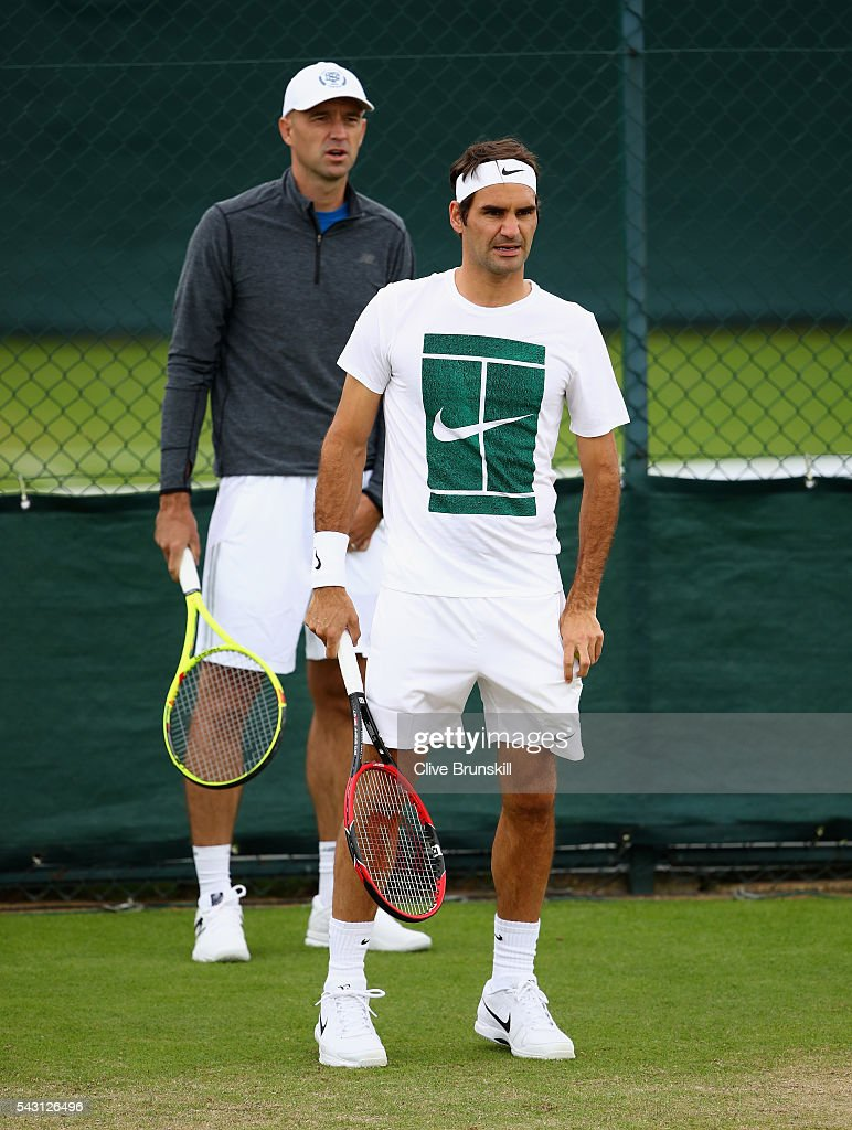 <a gi-track='captionPersonalityLinkClicked' href=/galleries/search?phrase=Roger+Federer&family=editorial&specificpeople=157480 ng-click='$event.stopPropagation()'>Roger Federer</a> of Switzerland with his coach <a gi-track='captionPersonalityLinkClicked' href=/galleries/search?phrase=Ivan+Ljubicic&family=editorial&specificpeople=213026 ng-click='$event.stopPropagation()'>Ivan Ljubicic</a> during a practice session prior to the Wimbledon Lawn Tennis Championships at the All England Lawn Tennis and Croquet Club on June 26, 2016 in London, England.