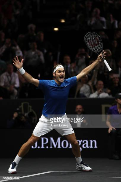 Roger Federer of Team Europe celebrates winning the Laver Cup on match point during his mens singles match against Nick Kyrgios of Team World on the...