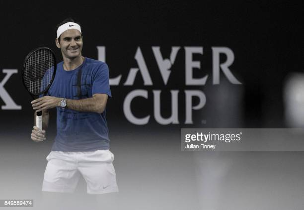 Roger Federer of Team Europe in a practice session on September 19 2017 in Prague Czech Republic The Laver Cup consists of six European players...
