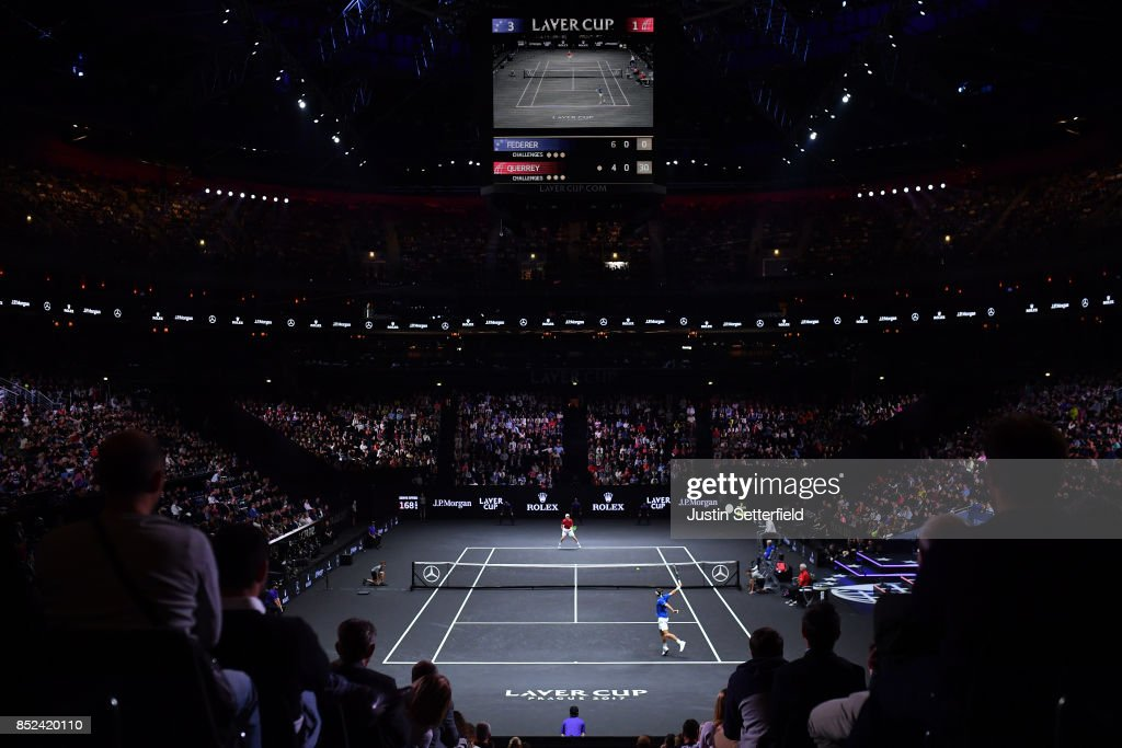 Roger Federer of Team Europe plays a backhand during his singles match against Sam Querrey of Team World on Day 2 of the Laver Cup on September 23, 2017 in Prague, Czech Republic. The Laver Cup consists of six European players competing against their counterparts from the rest of the World. Europe will be captained by Bjorn Borg and John McEnroe will captain the Rest of the World team. The event runs from 22-24 September.