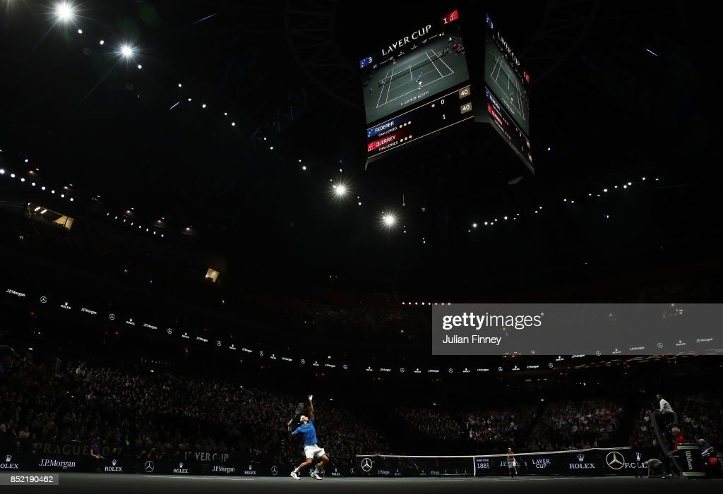 Roger Federer of Team Europe serves during his singles match against Sam Querrey of Team World on Day 2 of the Laver Cup on September 23, 2017 in Prague, Czech Republic. The Laver Cup consists of six European players competing against their counterparts from the rest of the World. Europe will be captained by Bjorn Borg and John McEnroe will captain the Rest of the World team. The event runs from 22-24 September.