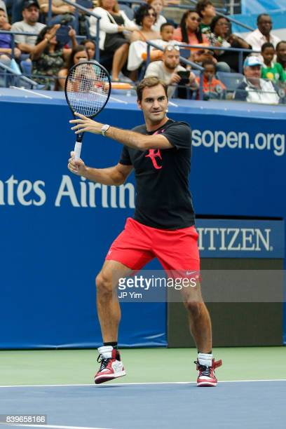 Roger Federer participates in the 22nd Annual Arthur Ashe Kid's Day event at the USTA Billie Jean King National Tennis Center on August 26 2017 in...