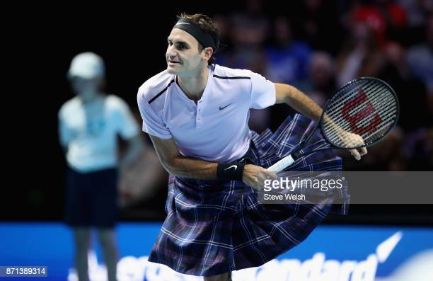 Roger Federer plays a shot whilst wearing a Kilt during his match against Andy Murray during Andy Murray Live at The Hydro on November 7 2017 in...