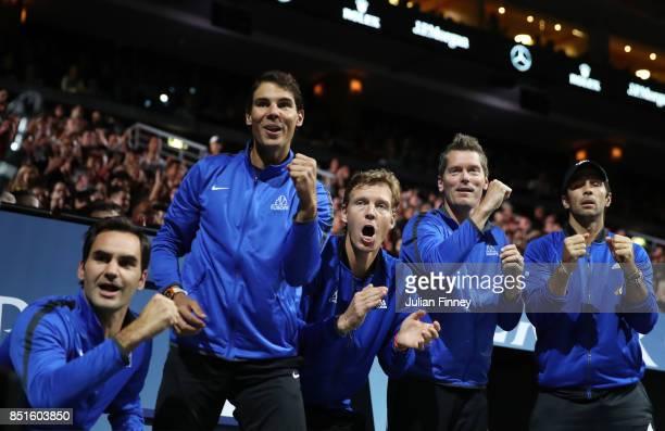 Roger Federer Rafael Nadal Tomas Berdych Thomas Enqvist and Fernando Verdasco of Team Europe celebrate as they watch the singles match between...