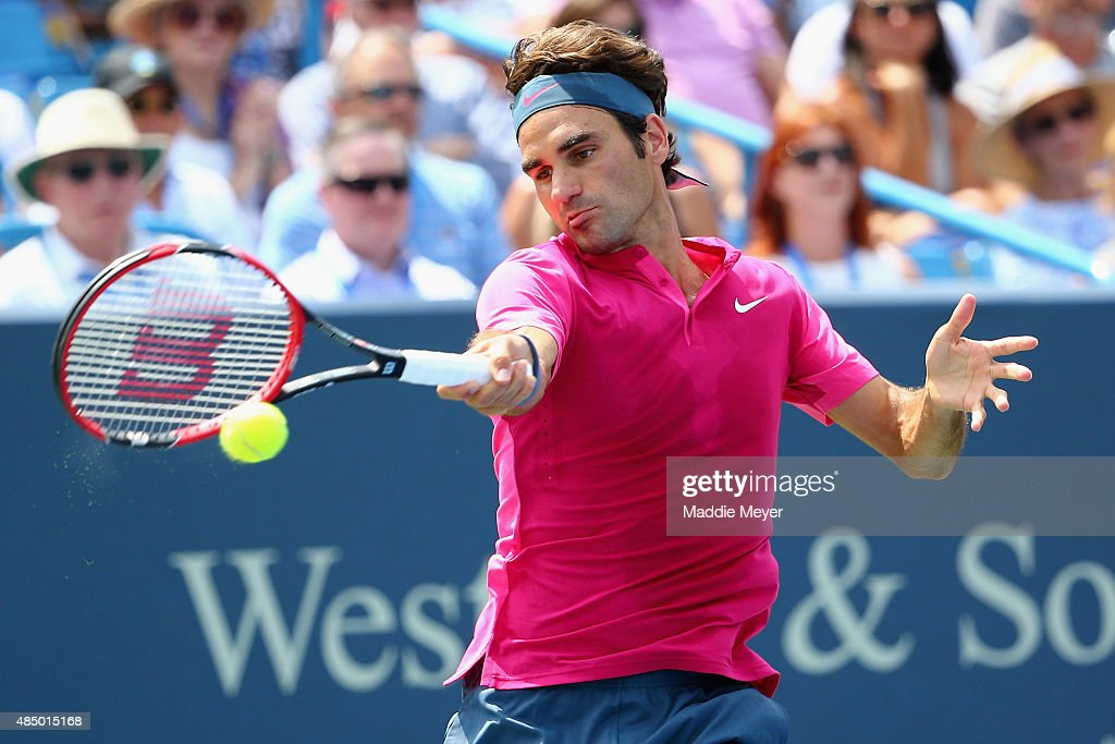 <a gi-track='captionPersonalityLinkClicked' href=/galleries/search?phrase=Roger+Federer&family=editorial&specificpeople=157480 ng-click='$event.stopPropagation()'>Roger Federer</a> returns a forehand to Novak Djokovic of Serbia during the final round on Day 9 of the Western & Southern Open at the Lindner Family Tennis Center on August 23, 2015 in Cincinnati, Ohio.