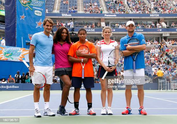 Roger Federer Serena Williams Taylor McKnight Kim Clijsters and Andy Roddick attend 2012 Arthur Ashe Kids' day at the USTA Billie Jean King National...
