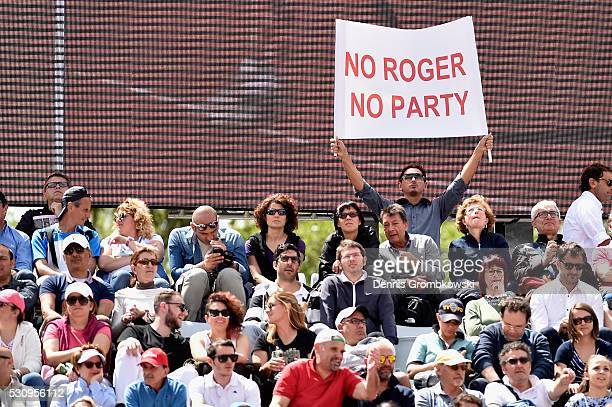 Roger Federer supporter shows a banner on Day Five of The Internazionali BNL d'Italia on May 12 2016 in Rome Italy